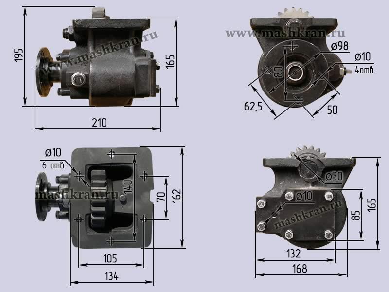 Коробка отбора мощности КОМ МП05-4202010 раздатка 20,22 зуба автокрана КС-45717.14.100 КамАЗ - габаритные и присоединительные размеры