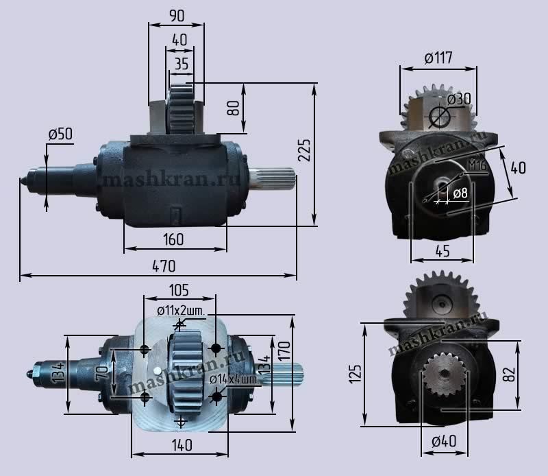 Коробка отбора мощности КОМ КС-35715.14.100 раздатка автокранов КС-35715, КС-3577 МАЗ - габаритные и присоединительные размеры
